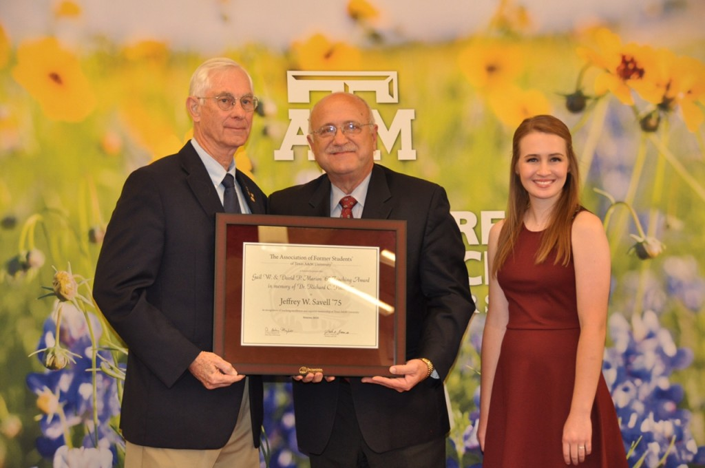 David Marion, Jeff Savell, and Whitney Green, Marion Teaching Award (photo by Dan Lineberger)